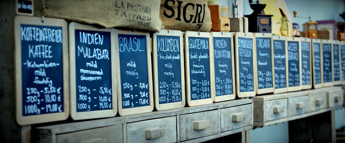 Kaffee Shop Röstkaffee nach Anbaugebieten