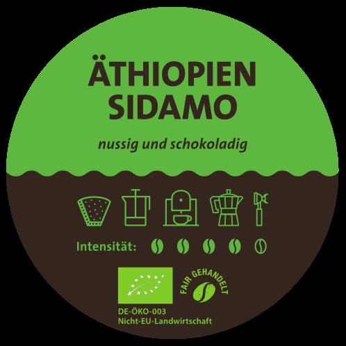 Äthiopien Sidamo Bio Kaffee Label
