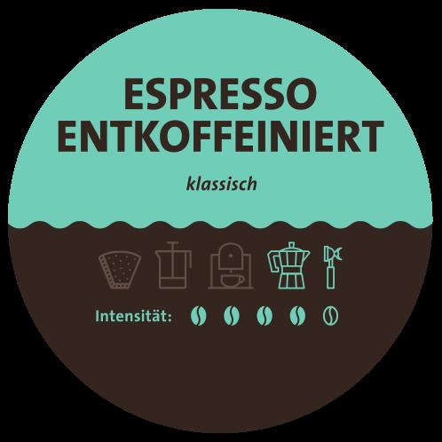Espresso entkoffeiniert Label