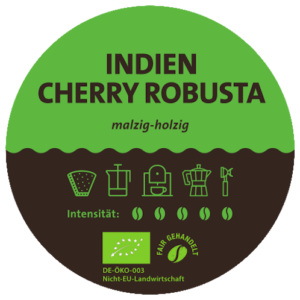 Indien Cherry Robusta Bio Kaffee Label