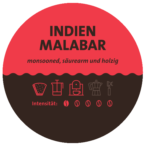 Indien Monsooned Malabar Kaffee Label