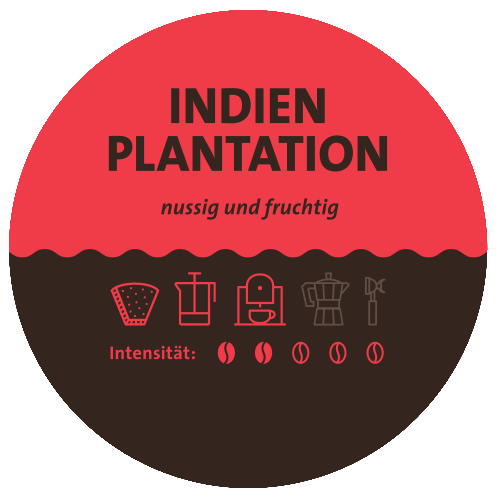 Indien Plantation Kaffee Label