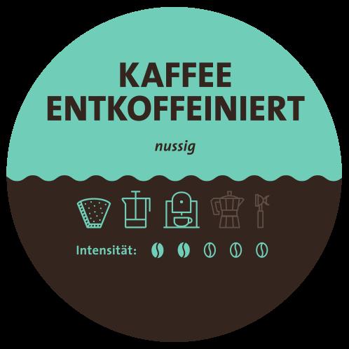 Kaffee entkoffeiniert Label