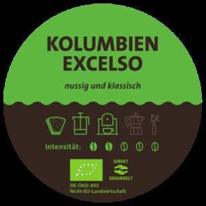 Kolumbien Excelso Bio Kaffee Label