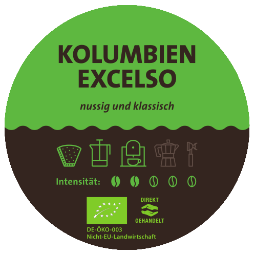 Kolumbien Excelso Bio Kaffee Label