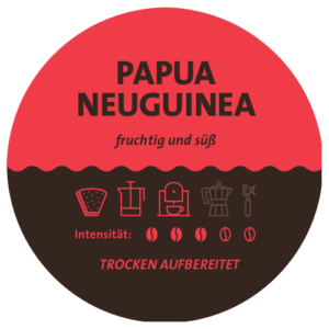 Papua Neuginea Kaffee Label