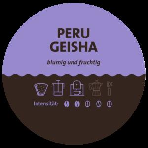 Peru Geisha Kaffee Label